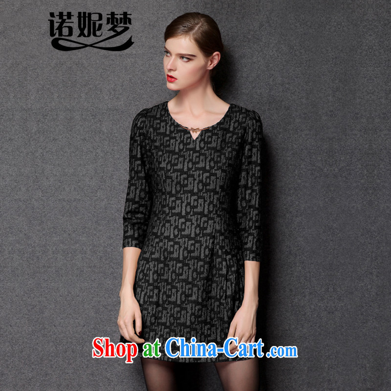 Connie's dream 2014 new fall in Europe and America with high-end King, female geometry short 7 cuff V for cultivating dresses style stylish short skirts Y 3293 black XXXXL
