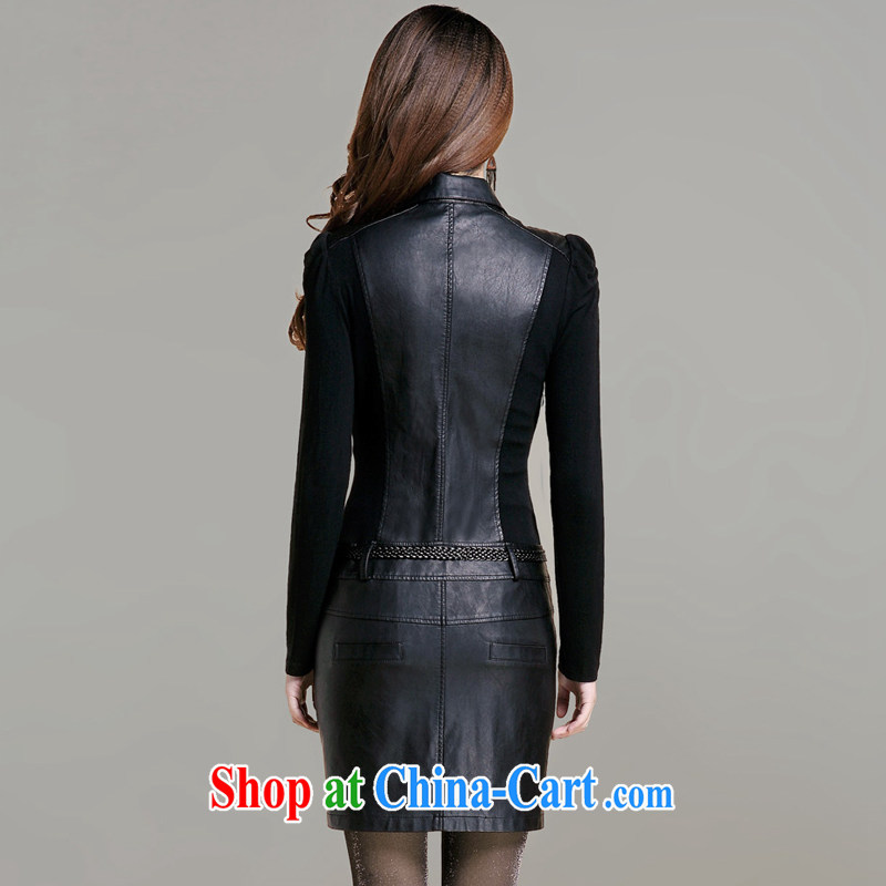 In short, the 2014 will be new, larger women in Europe and America, focusing on cultivating MM graphics thin long-sleeved PU leather dress leather dress J 082 black 4XL (145 - 160 ) jack, Jane, who could (Janrelove), online shopping