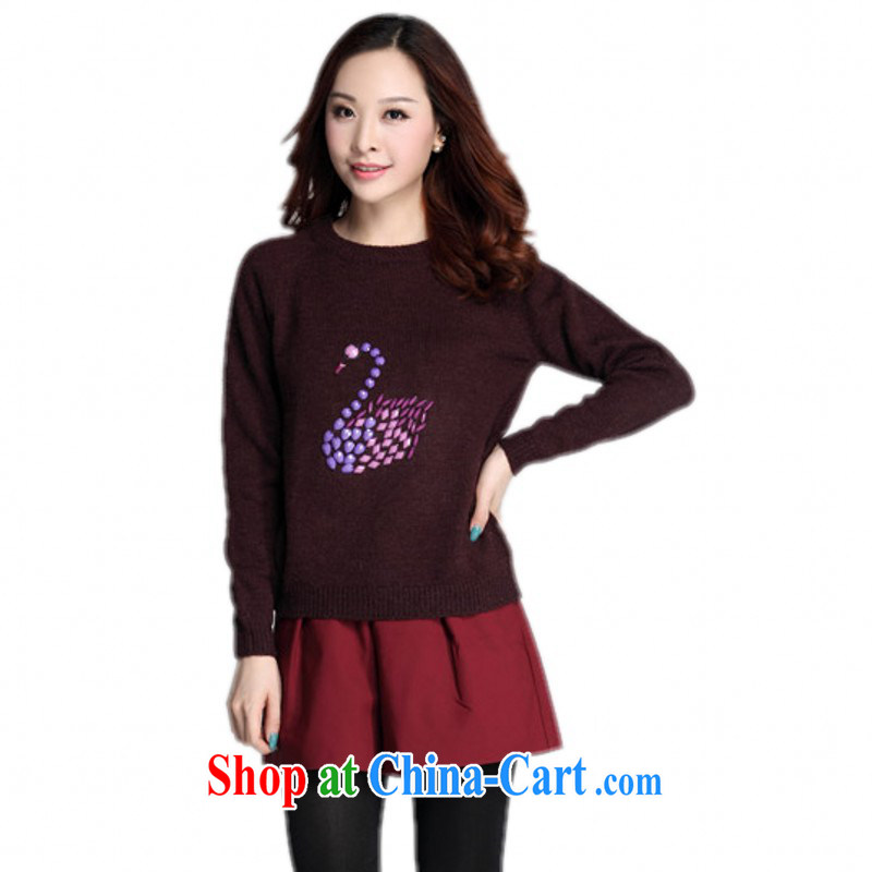 Land is still the garment package mail King, thick mm stylish sweet cygnets knitted T-shirt fine nails Pearl solid color loose sweaters, ladies long sleeved brown 3 XL approximately 155 - 170 about Jack