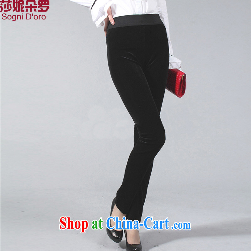 Laurie, flower 200 Jack the fat King, women mm thick winter clothing new wool beauty lounge thick girls video thin pencil solid long pants 9111 black 4XL