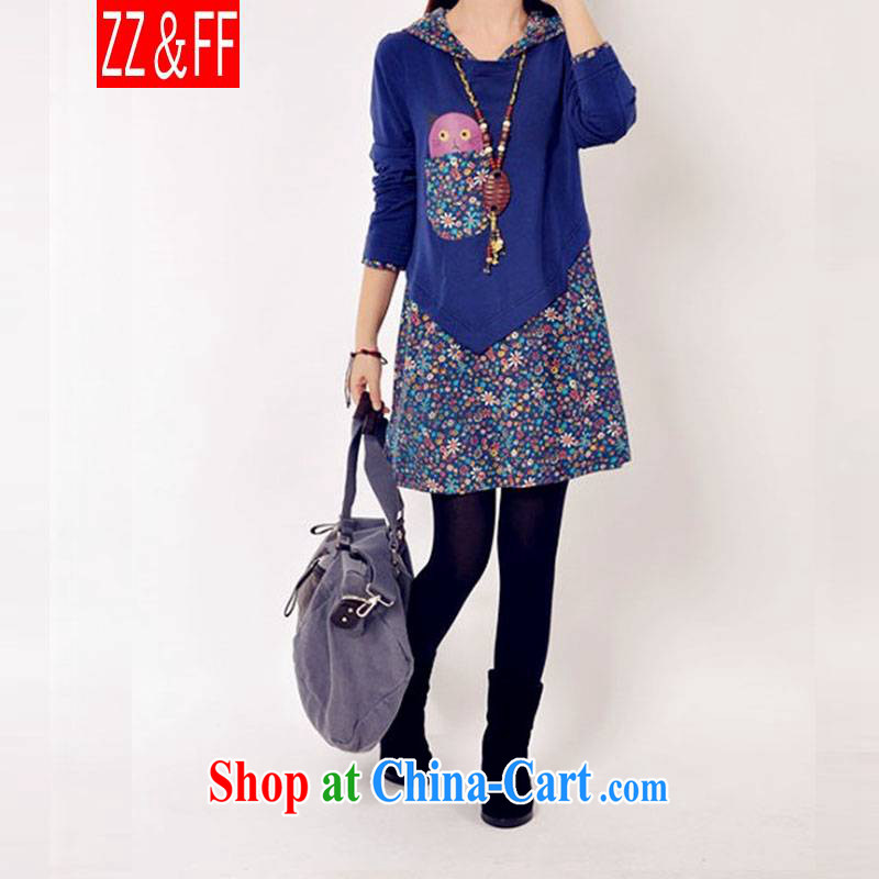 ZZ _FF summer 2015 with new, lint-free cloth with thick large code female Korean floral stitching, dress casual the code long-sleeved solid blue skirt XXXL