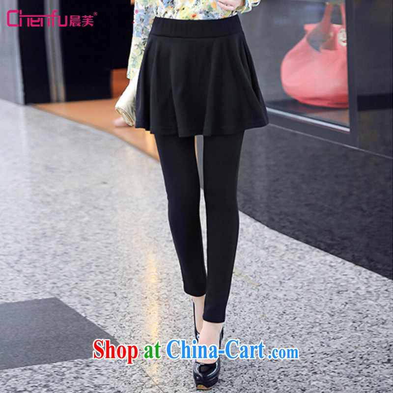 Morning 2015 will be new, larger female spring new the lint-free cloth warm graphics thin elastic thick MM dress pants commuter lady 100 hem double-coat solid black pants 5 XL