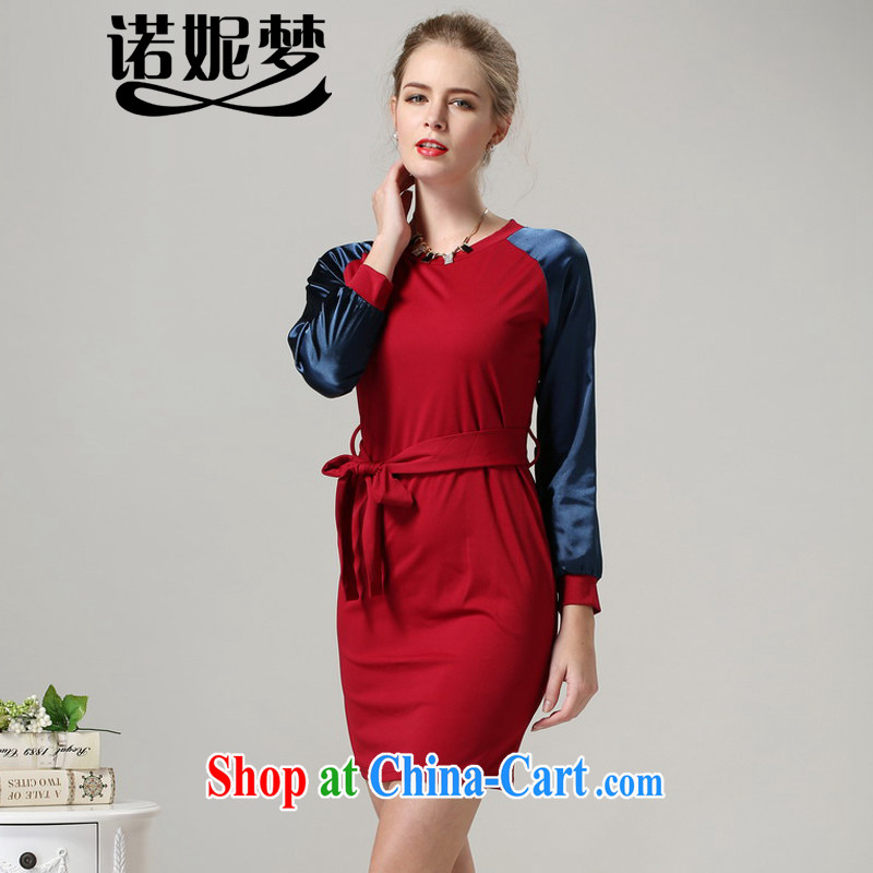 Connie's dream 2014 winter clothing new, high-end up in Europe and America, female thick MM-waist dresses in short and long-sleeved loose round-collar belt skirt s 1009 red XXXXXL