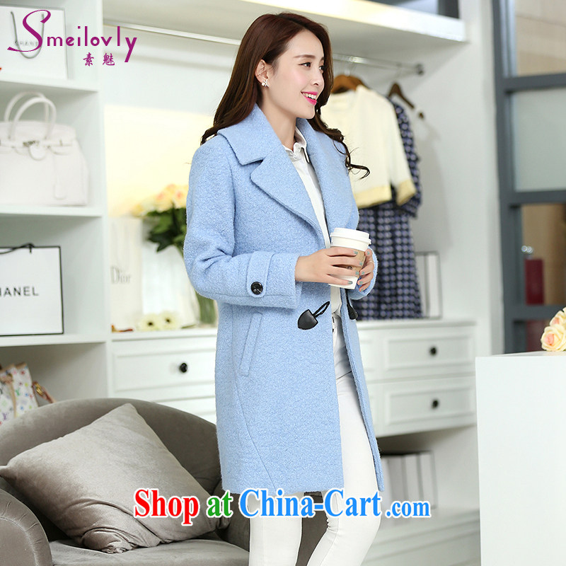 Staff of the fertilizer increase Code women mm thick 2014 autumn and winter with new Korean version Cashmere wool coat this jacket 5051 light blue 2 XL