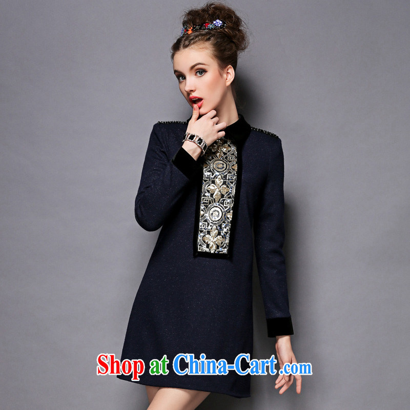 Emma upscale 2014 autumn and winter new XL female graphics thin hair is a long-sleeved clothing skirt blue 5 XL _90 - 100 _ KG