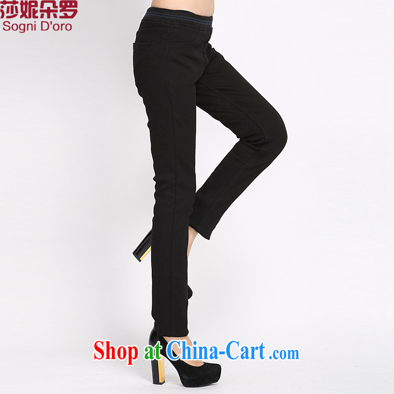 Elizabeth Anne flower, 2014 new winter clothes XL girls trousers and lint-free cloth thick warm graphics thin jeans pants pencil trousers children's 5004 black 6 XL