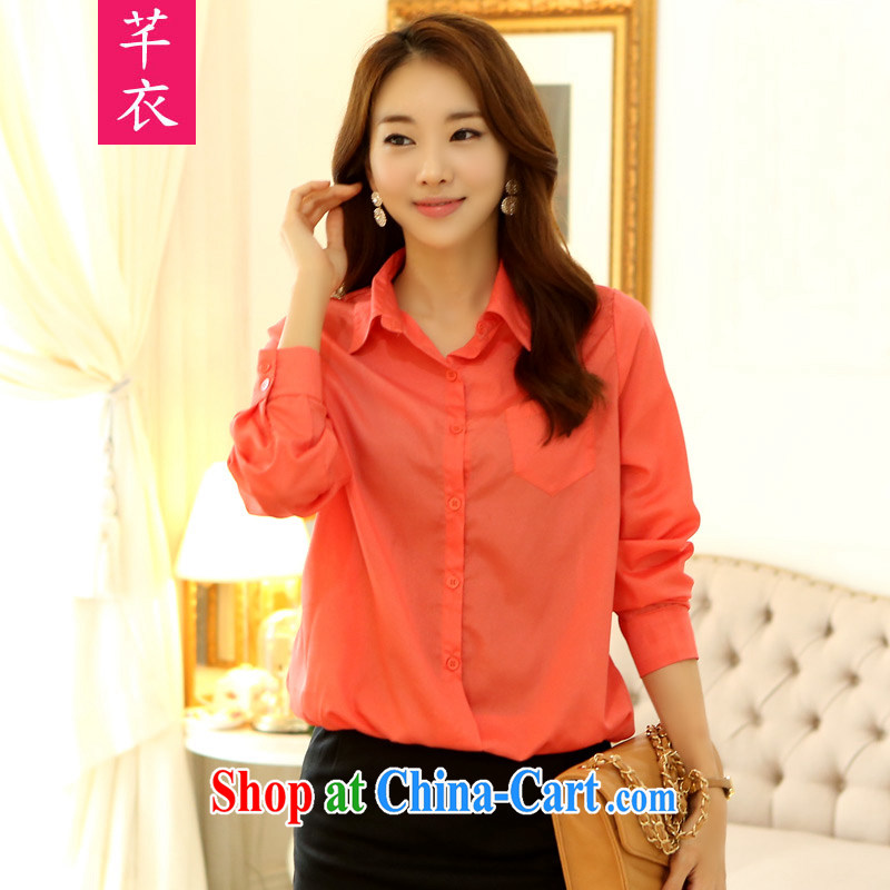 Constitution, indeed, female 2015 XL mm thick Korean leisure loose video thin long-sleeved T-shirt and lapel solid with snow cuff woven shirts orange are code 100 - 120 jack