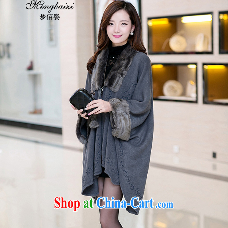 Let Bai colorful 2014 Korean edition fall_winter new bat shirt cloak shawl cardigan sweater long jacket, knitted shirts larger female JMYD _345 pre-sale gray are code