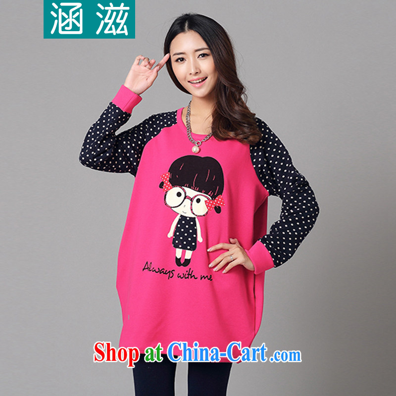 HIV_AIDS by 2014 autumn and winter, the Korean version of the greater code ladies and lint-free cloth thick embroidered long-sleeved shirt T DM of 009 red L