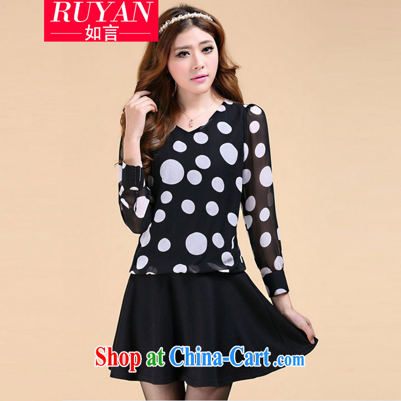 Autumn 2014 the new thick mm wave point dot V collar long-sleeved dresses larger female snow woven stitching solid skirt-A Field skirt black XXXL