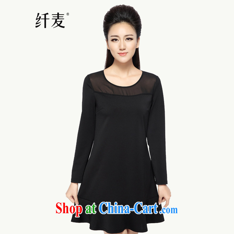 The Mak is the women's clothing 2014 winter clothing new thick mm stylish Solid Color flouncing dress 944101642 black 6 XL