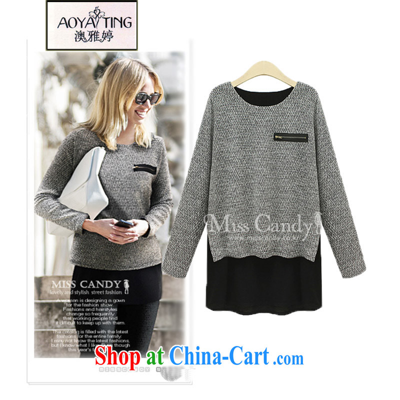 o Ya-ting 2015 spring new and indeed XL women mm thick long-sleeved T-shirt knitted T-shirt T-shirt woman D 08 light gray 5 XL recommendations 175 - 200 jack