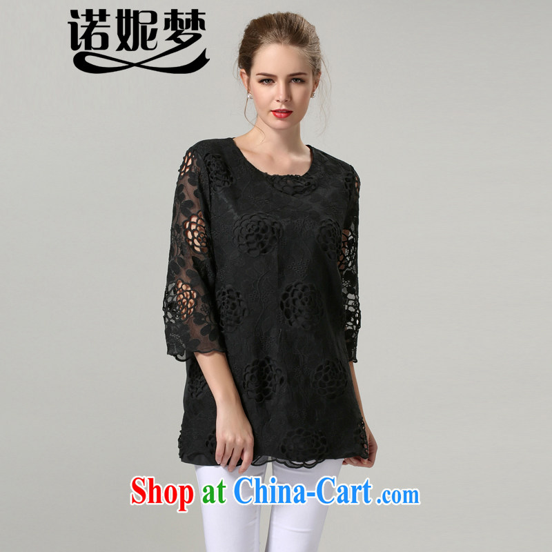 Connie's dream European and American high-end 2014 new autumn the XL women mm thick lace T shirts girls embroidered Openwork 7 cuffs loose T-shirt s 1202 black XXXXXL