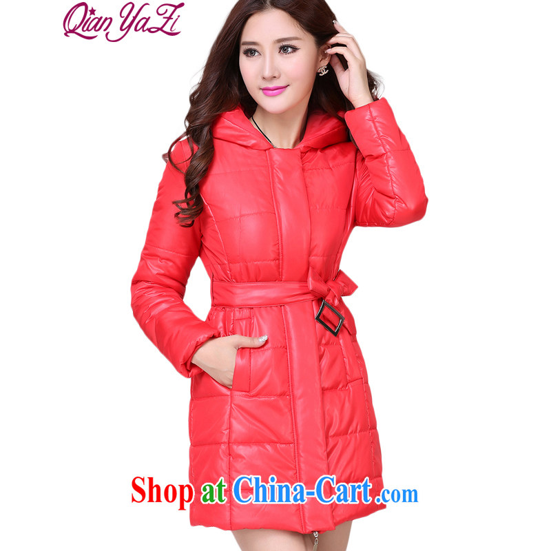 Constitution, Jacob beauty is indeed, XL girls 2015 new autumn and winter clothing warm Lady has been the two-way zip long cap cotton suit long-sleeved jacket, red 5 XL 180 - 200 jack