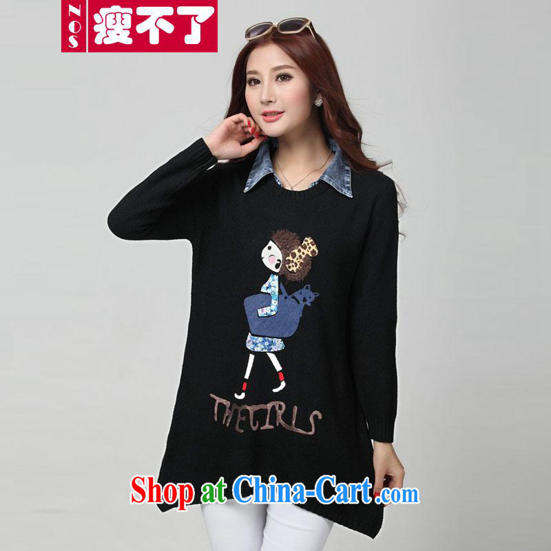 Thin (NOS) code female leisure video thin Tibetan meat T-shirt classic style T shirt female D 31,131 black large code are code 120 - 180 jack wear