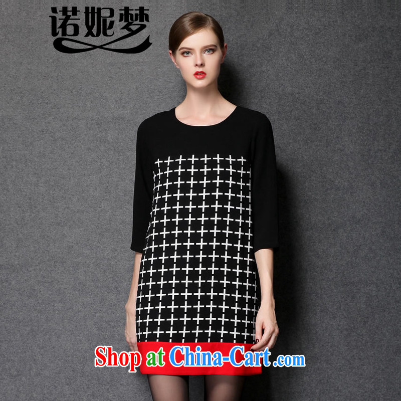 Connie's dream in Europe and high-end XL girls 2014 new autumn loaded loose video thin dress mm thick box cuff round-collar style skirt Y 1539 black XXXXL