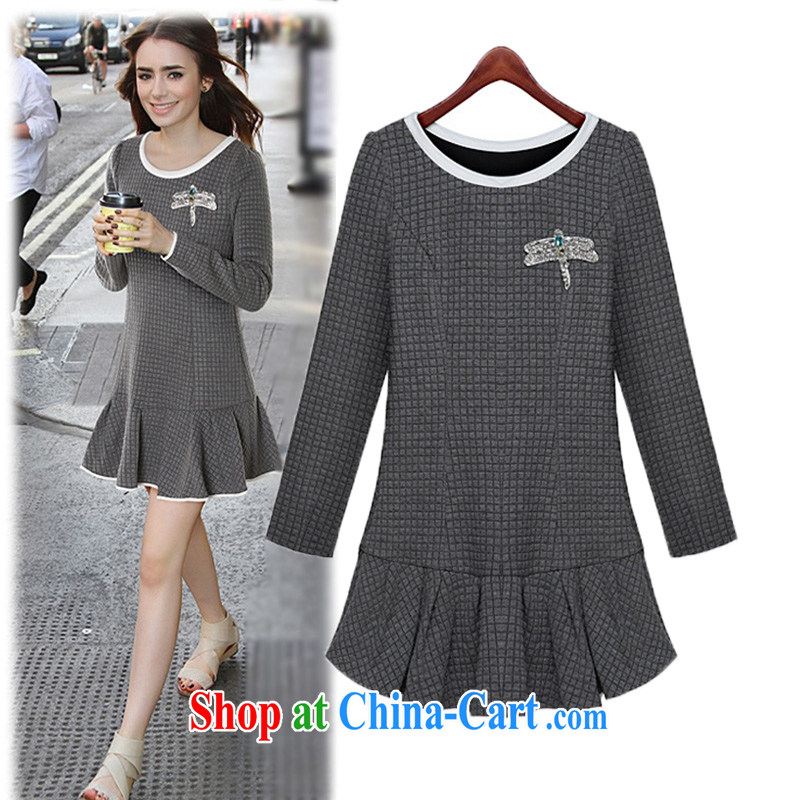 o Ya-ting 2014 autumn and winter new female Korean Beauty round-collar dresses winter 801 color pictures with water drilling Dragonfly 5 XL recommendations 175 - 190 jack
