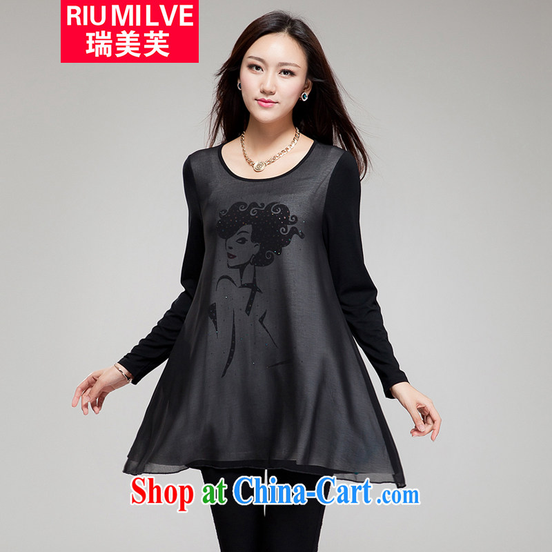 Ryan and the United States concluded the 2015 code female thick MM graphics thin new Korean version with stamp duty hot drill loose dress FY 019 black 3 XL _171 jack - 190 Jack through_