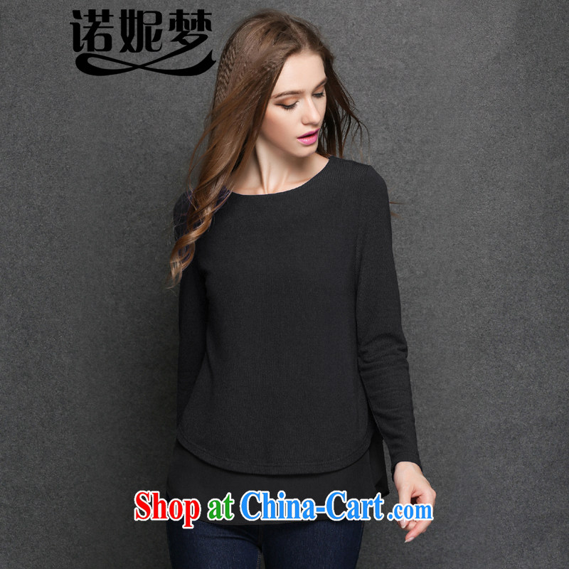Connie's dream European and American high-end women's clothing the Code women 2014 new autumn and replace loose video thin T shirts thick sister long-sleeved round-collar leave two solid shirt Y 3184 black XXXXL