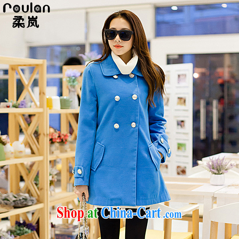 ROULAN_Sophie sponsors the fat XL thick MM Korean version spring 2015, new Korean version cashmere overcoat? What about gross jacket women 9283 blue XXXL