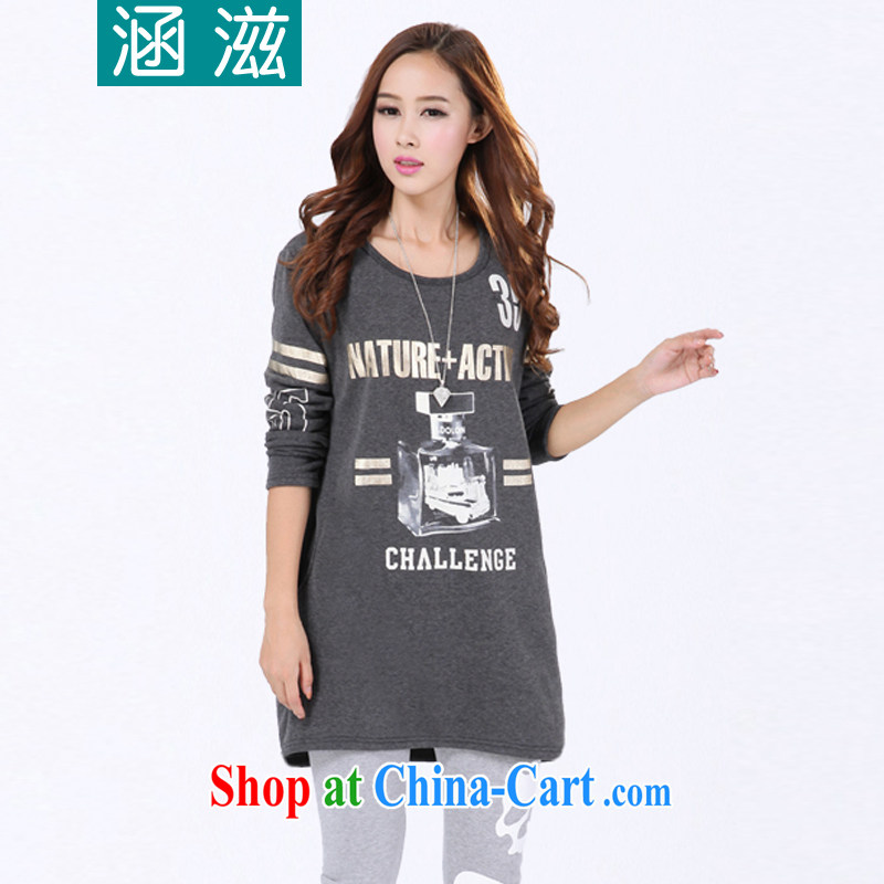 HIV_AIDS by 2014 autumn and winter, the larger female and lint-free cloth thick graphics thin solid shirt long-sleeved shirt T DM 068 gray are code