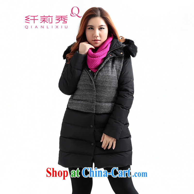 Slim LI Sau 2014 autumn and winter new larger female stitching in cultivating long jacket coat Q 5980 black 2 XL