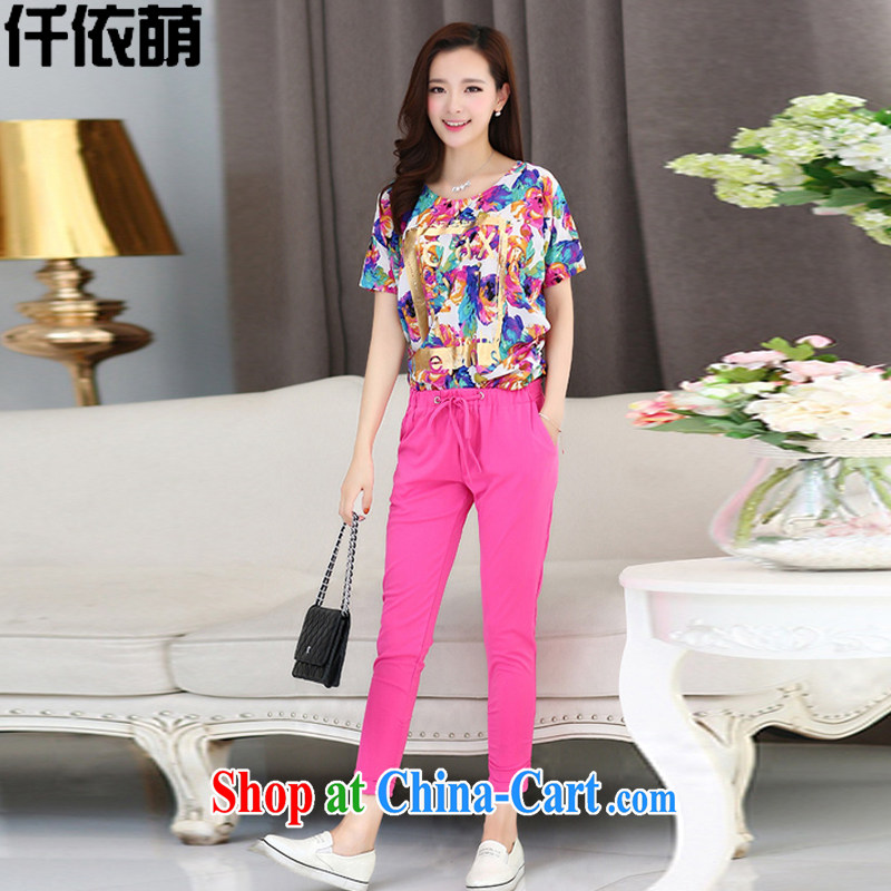 confession would be in accordance with 2015 summer girls and indeed increase, short-sleeved T-shirt 7 pants Leisure package _T-shirt + pants_ 6076 red floral T-shirt + pants XXXXL 175 - 185