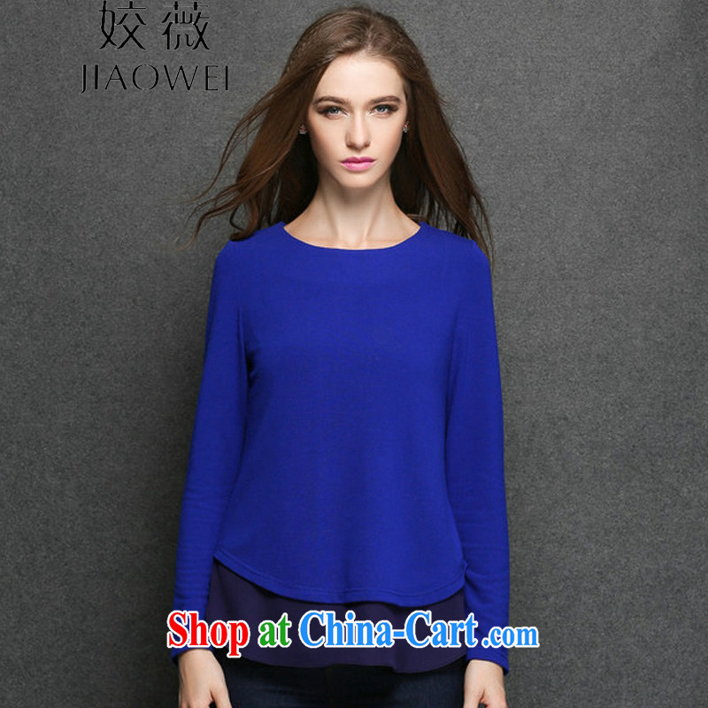 Ms Audrey EU focus the code long-sleeved T-shirt loose female thick sister in Europe and fall fashion loose long shirt solid JW 3184 blue XXXXL