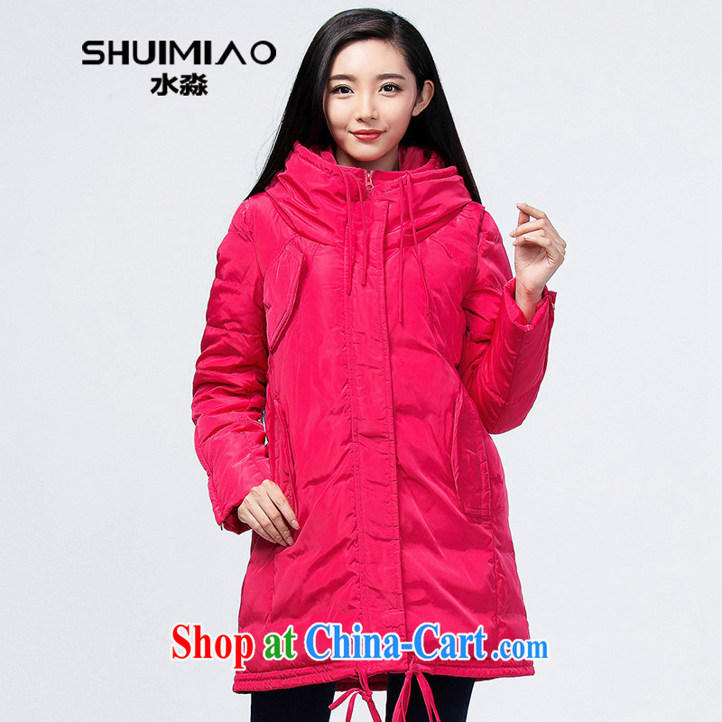 Water with thick sister 2014 winter clothing new Korean cap jacket in women long, thick S DQ 14 4055 peach XXL