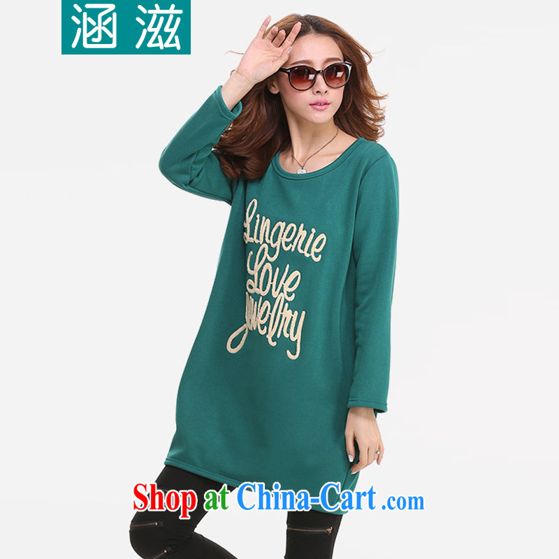 HIV/AIDS by 2014 autumn and winter, the larger female and lint-free cloth thick embroidered solid shirt long-sleeved shirt T DM 093 green XL