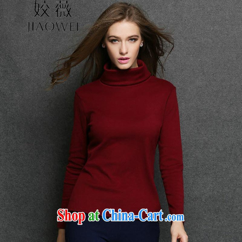 Ms Audrey EU focus the code high-collar solid shirt women mm thick beauty in Europe and America women long-sleeved shirt T JW 3054 deep red XXXXL