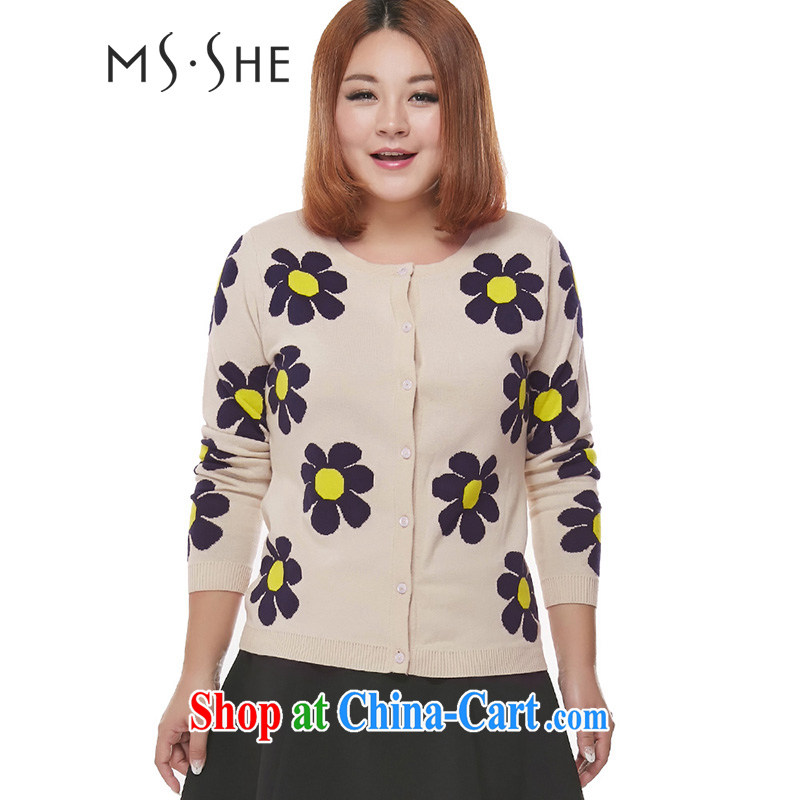 MsShe XL ladies' 2015 spring new stylish knocked color flowers knitting cardigan sweater jacket clearance 7889 focused on the blue flower XL