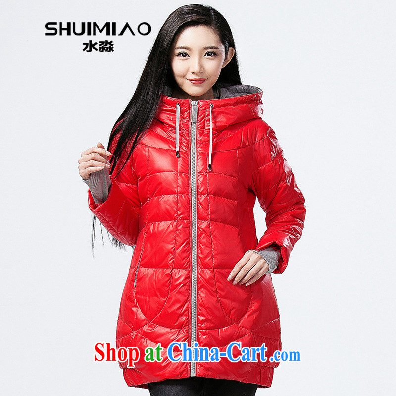 Water with larger female 200 Jack autumn and winter, Korean light-jacket, long, thick S DQ 14 4251 red XXL