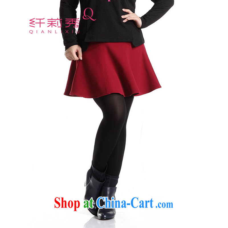 Slim LI Sau 2014 autumn and winter new, larger female stylish Korean version 100 ground high-waist, skirt hem 100 short skirts Q 6307 wine red 5 XL