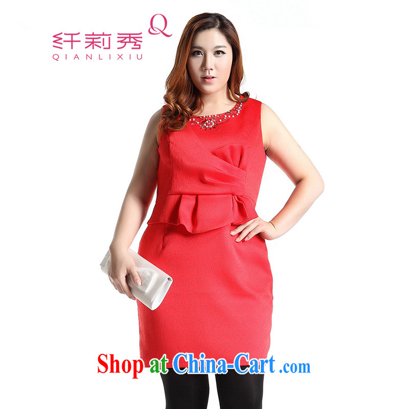 Slim LI Sau 2014 autumn and winter new, larger female round-collar sleeveless nails Pearl bowtie small dress dresses Q 6369 red L