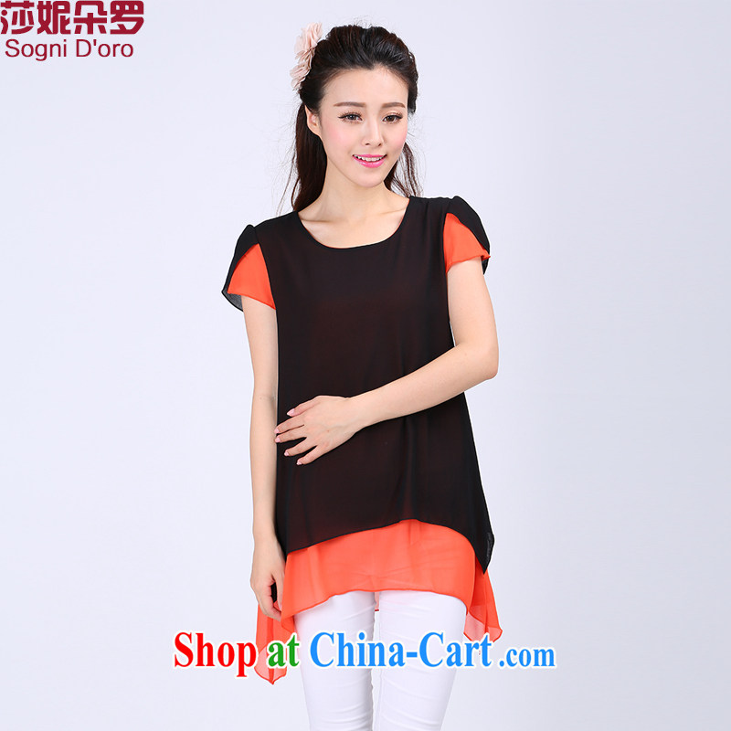 Laurie flower Luo, female T pension fat sister and indeed increase fat people graphics thin, loose short-sleeved girls snow woven shirts 6747 black 6 XL