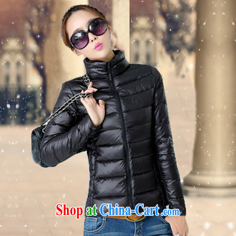 ZS a $88 winter clothing on a new women's coats fall and winter new larger female feather cotton suit the code down girls quilted coat Y 08 black 2 XL