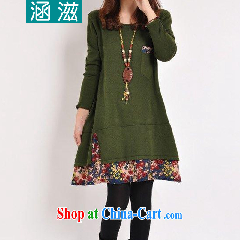 HIV_AIDS covered by autumn 2014 the new female Korean version the code female floral stitching thick long-sleeved solid dresses DM 109 green XXL
