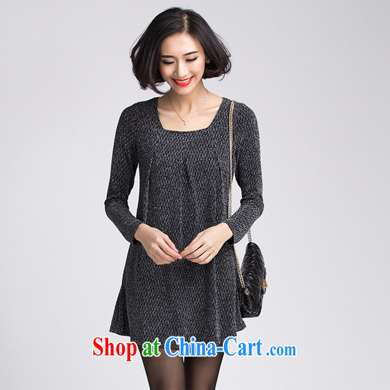 Zhang Lin , the fat increase code mm thick Autumn with new 2015 T shirt Korean loose the code for T-shirt long-sleeved video thin solid T-shirt female black 4 XL