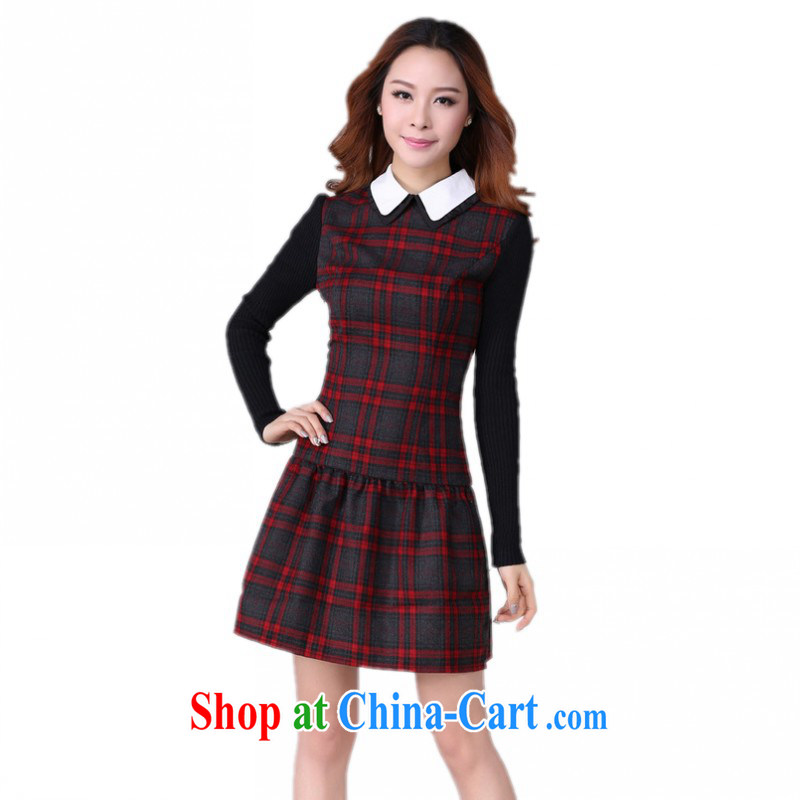 The delivery package mail as soon as possible is the XL grid dress mm thick 2014 Autumn and Winter load new lapel OL commuter stretch skirt solid graphics red 3XL 145 - 155 Jack left and right