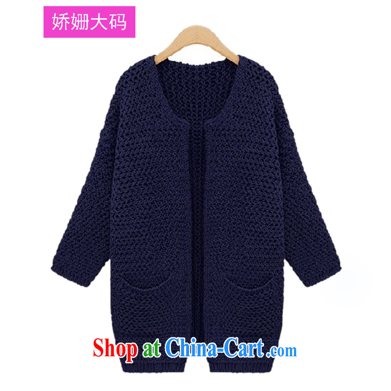 Susan Sarandon aviation jiaoshan autumn and winter with the Code women in Europe and the long-sleeved Solid Color large pocket cardigan sweater jacket women 1863 dark blue 3XL