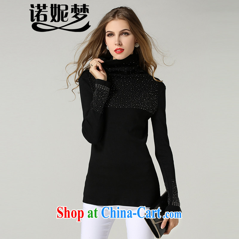 Connie's dream 2014 new autumn and winter clothing in Europe and indeed the XL women Beauty stretch knit-thick sister high-end wood drill high collar long-sleeved shirt T solid shirt black XXXXXL