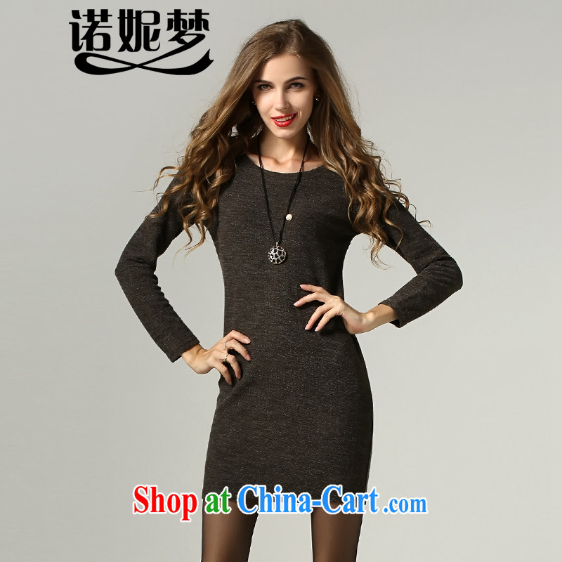 Connie's dream 2014 new fall in Europe and America with high-end large, female minimalist beauty dresses with long-sleeved knitted solid color and stylish appearance stretch solid further skirt brown XXXXXL