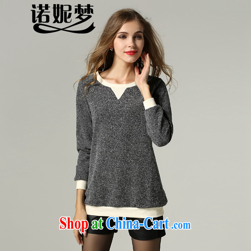 Connie's dream 2014 new autumn and winter in Europe and America with high-end large code female minimalist liberal T shirts thick sister solid-colored long-sleeved round neck knitted sweater solid s 1195 gray XXXXXL