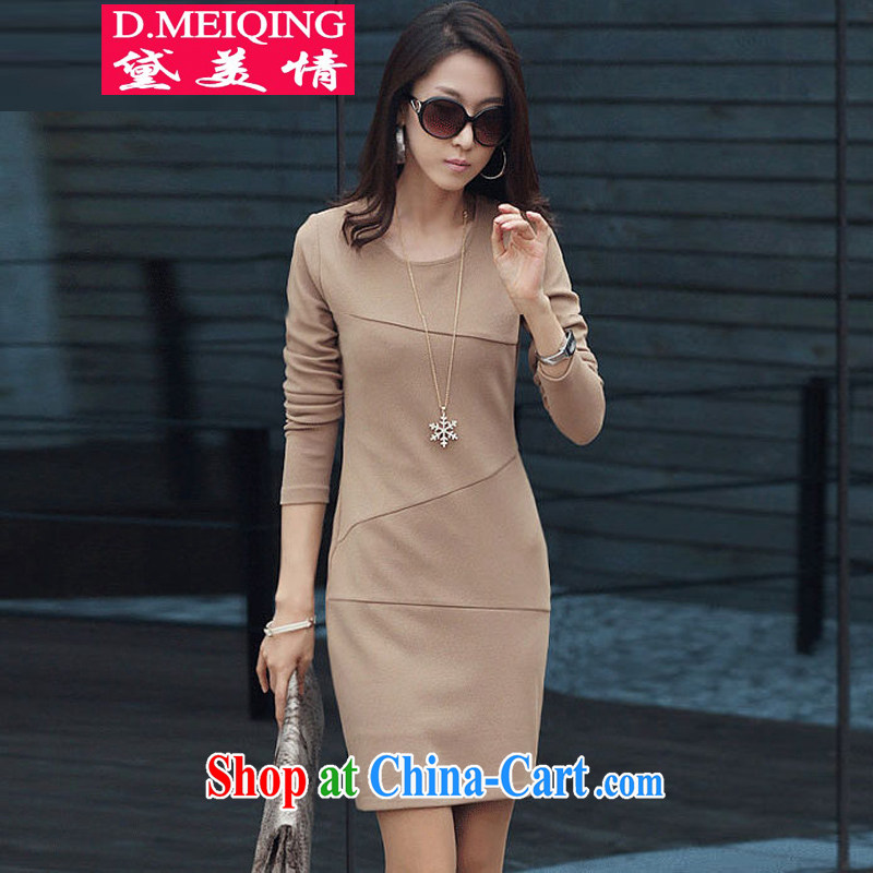 Diane US autumn 2014 the new Korean female long-sleeved Anti-Wrinkle OL solid skirt style XL thick MM cultivating graphics thin dresses female W 996 apricot XXL