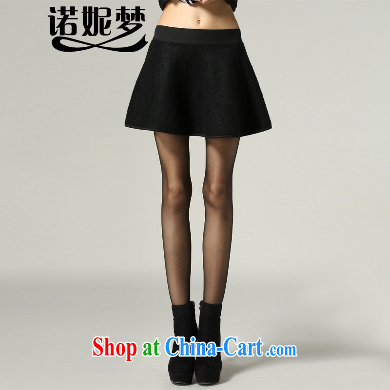 Connie's dream 2014 new autumn and winter in Europe with high-end thick mm larger female Elastic waist skirt solid color style simple gross A? field short skirts s 1208 black XXXXXL