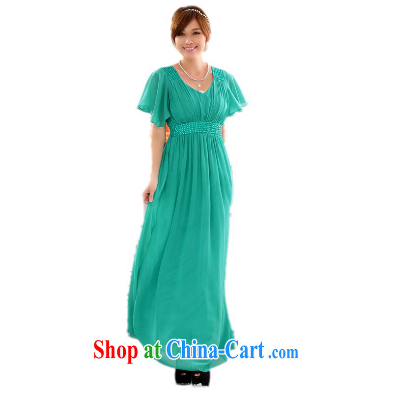 Land is the garment Package Mail and indeed XL snow woven skirts 2014 new stylish V collar flouncing snow cuff woven dresses nails Pearl high-waist dresses annual Peacock green 3 XL approximately 155 - 175 jack