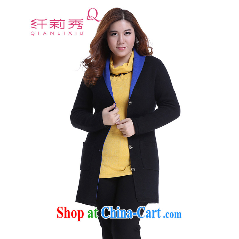 Slim LI Sau 2014 autumn and winter new larger female Leisure Long knitted sweaters cardigan jacket Q 5998 black 3 XL