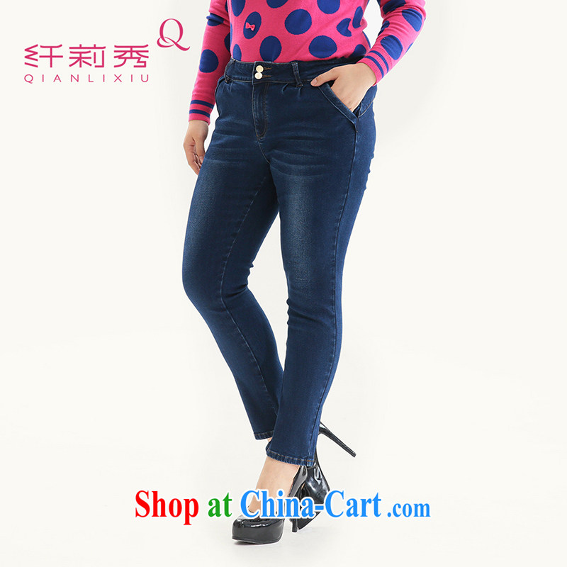 Slim LI Sau 2014 autumn new large, stylish and female video skinny legs pencil money terrazzo floor white jeans Q 6102 cowboy blue 5XL