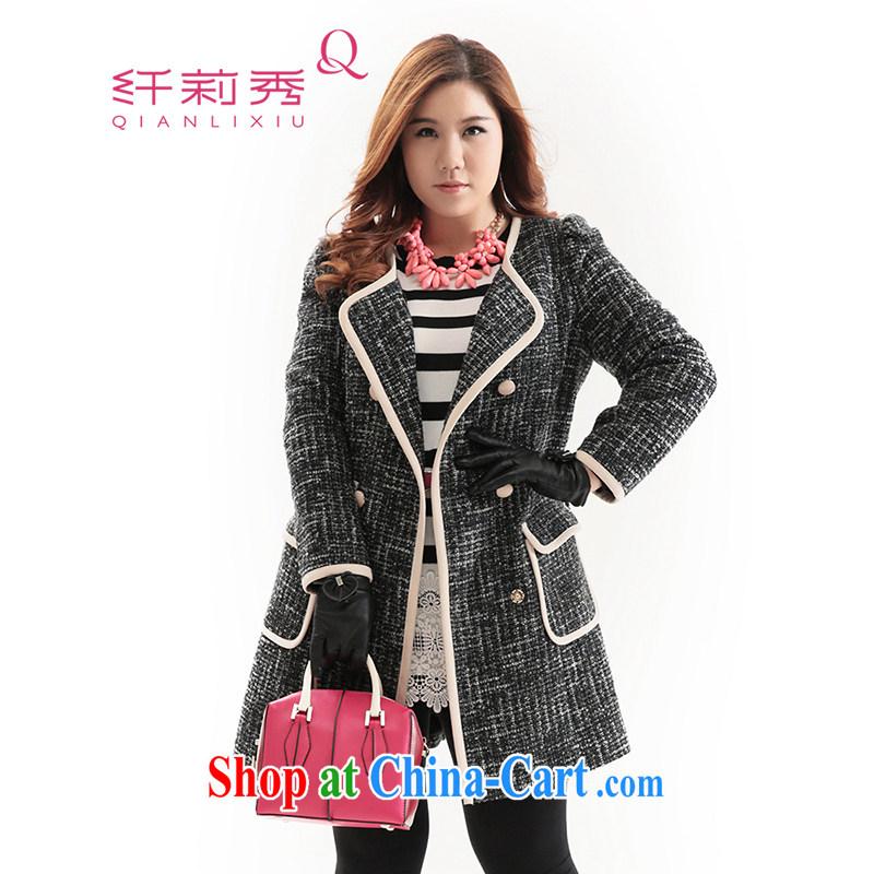 Slim LI Sau 2014 autumn and winter new large high fashion ladies double-bubble cuff is a coat jacket Q 6613 black L